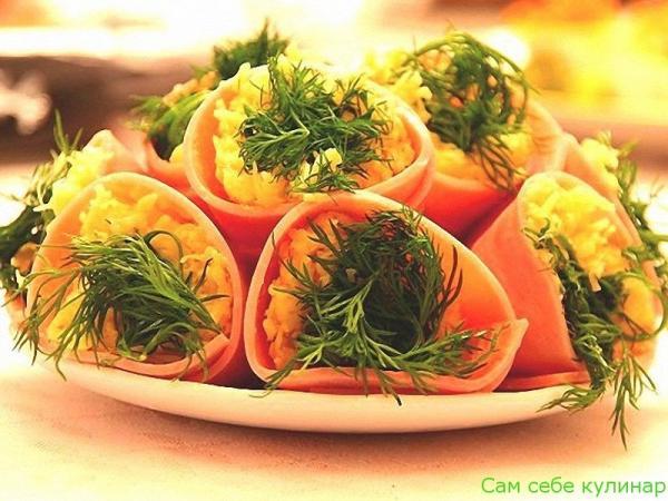 Закуска Колокольчики из сыра с ветчиной рецепт с фото