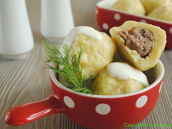 Картофельные клецки с мясом рецепт с фото