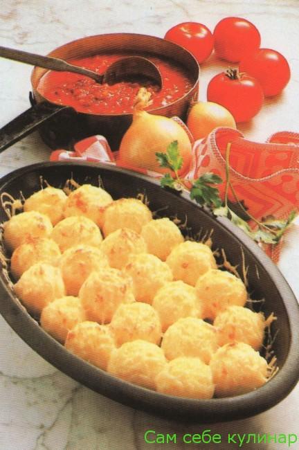 Картофельные клецки с мясом в духовке