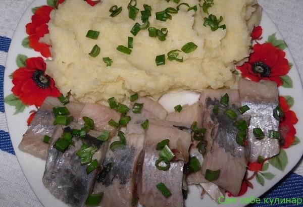 филе селедки кусочками с пюре и зеленым луком