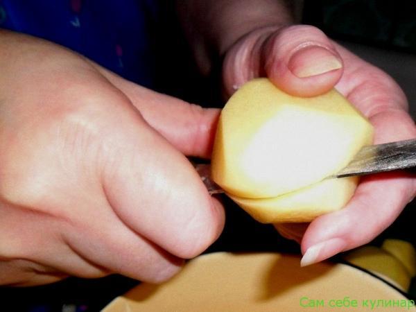 картошку режем пополам