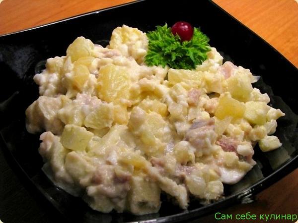 Картофельный салат с рыбой и майонезом