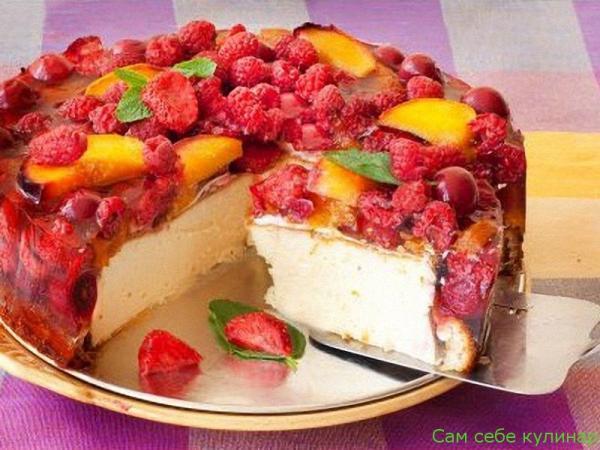 Чизкейк со свежими  ягодами и фруктами рецепт с фото