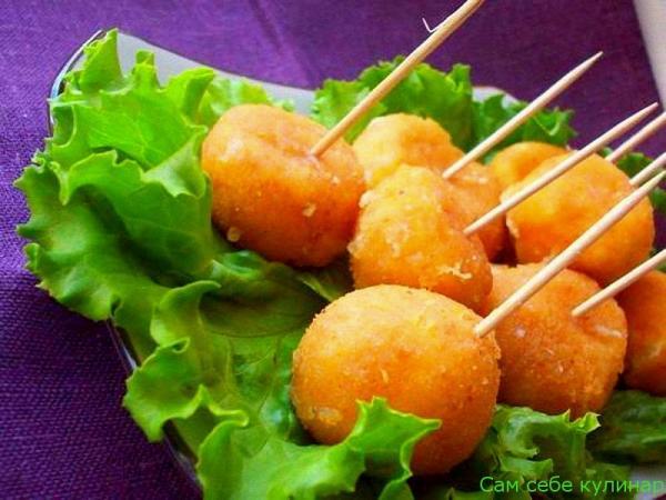 Сырные шарики жареные с чесноком рецепт с фото