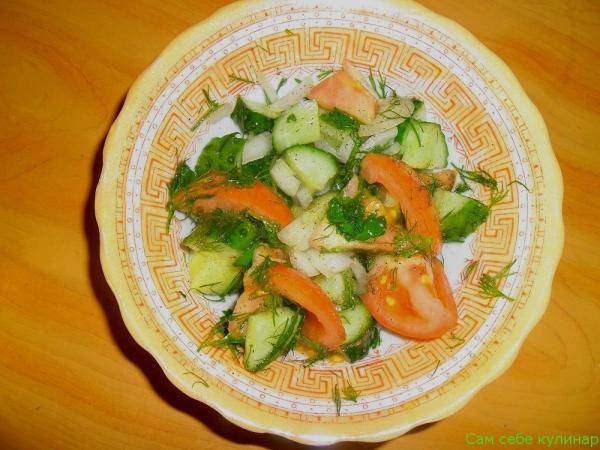 Салат из свежих огурцов и помидоров (фоторецепт)рецепт с фото пошаговый