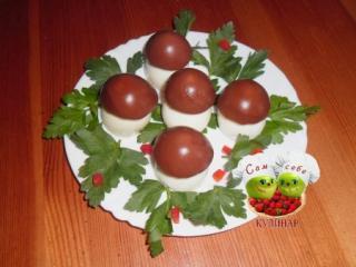 фаршированные яйца грибочки боровички праздничная закуска