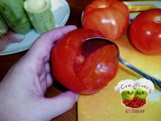 из помидора удалить серединку