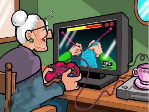бабушка за компбютером