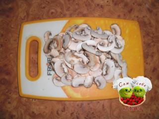 грибы нарезанные пластинами