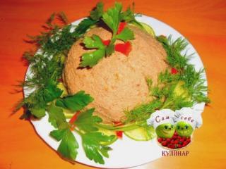 паштет на тарелке зелень