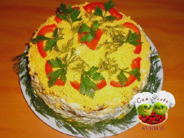 как оформить торт из печени