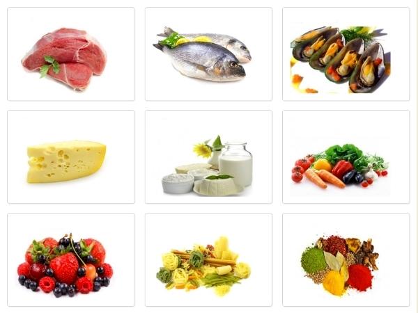 продукты питания, рыба, молочные продукты, ягоды
