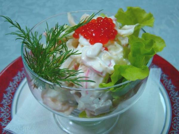 салат из морепродуктов укроп икра