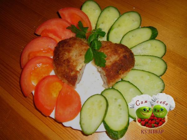 Котлеты с начинкой - пошаговые рецепты с фото