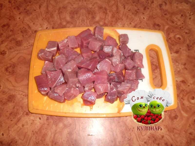 мясо нарезанное небольшими кусочками