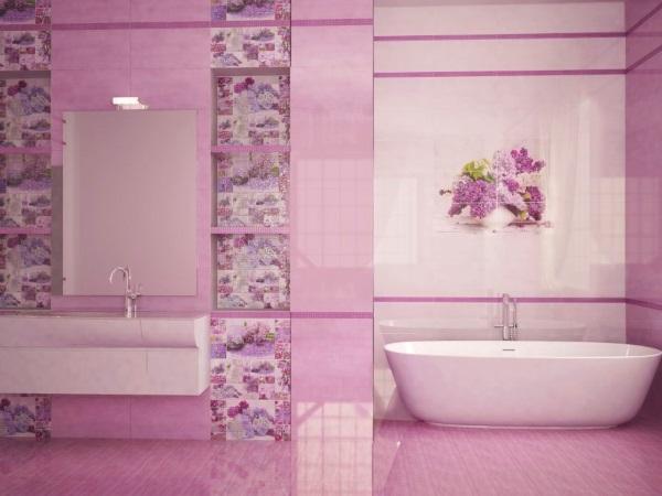 керамическая плитка сиреневого цвета для ванной комнаты