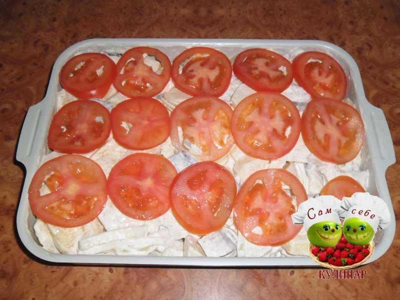 помидоры кружочками сверху запеканки