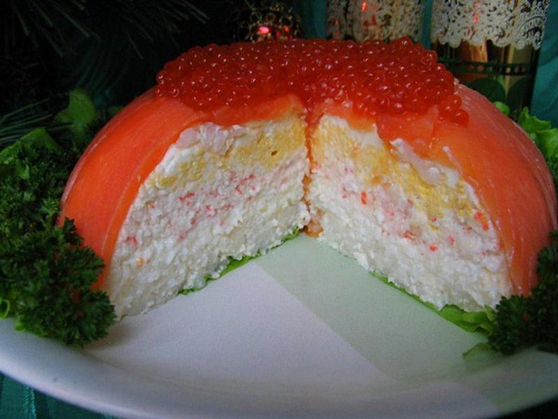 Салат торт с красной рыбой рецепт